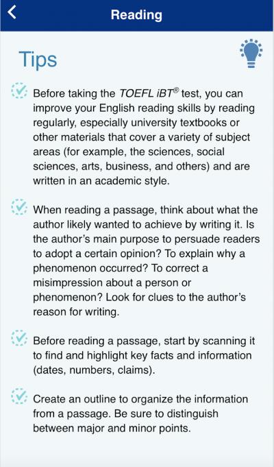 TOEFL Go! Reading Tips