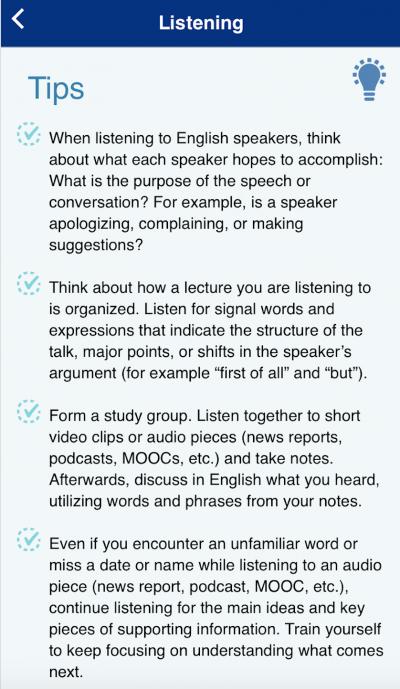 TOEFL Go! Listening Tips