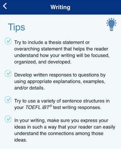 TOEFL Go! Writing Tips
