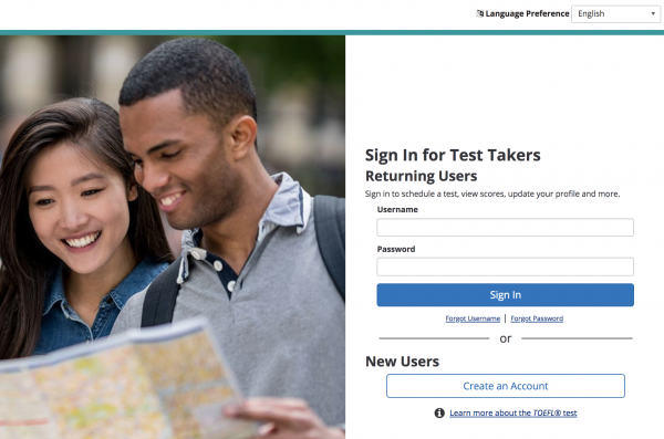 TOEFL iBT Sign In Page