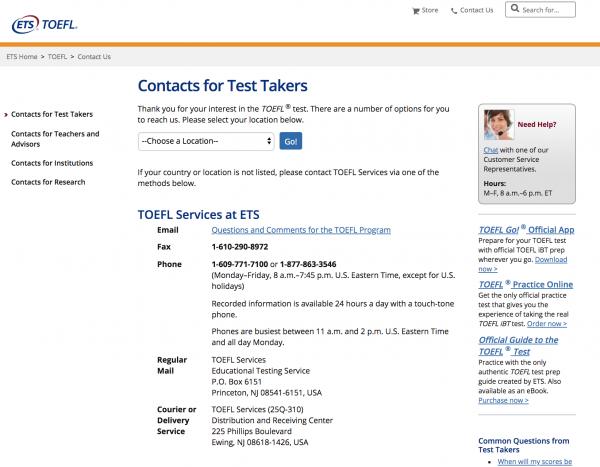 ETS TOEFL Contact Us