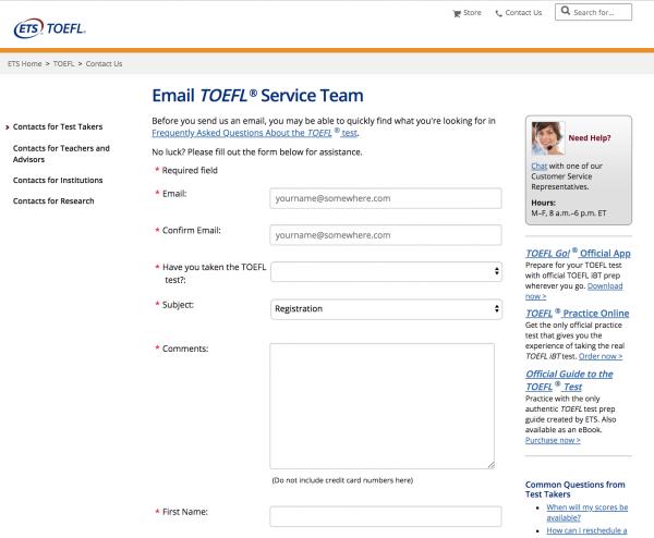 Email TOEFL Service Team