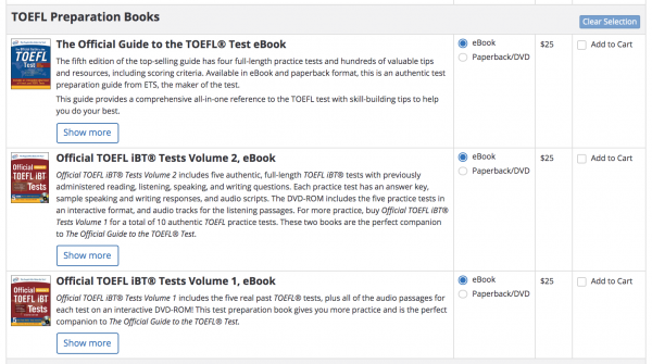 TOEFL OG, Official Tests eBook