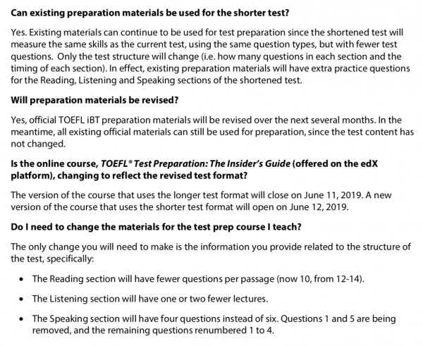 S Frequently Asked Questions About the Shorter TOEFL iBT® Test2