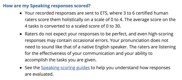 How are my Speaking responses scored?