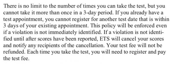 TOEFL Bulletin 3 day period policy