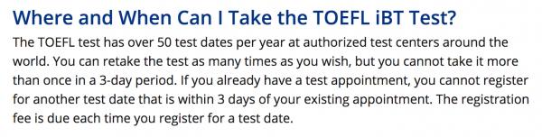 TOEFL New Retake Policy