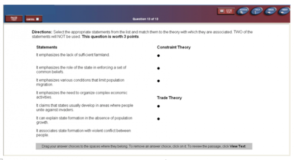 TOEFL Fill in a Table Question