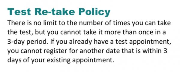 TOEFL re-take policy