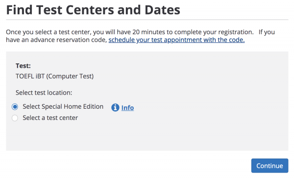Find Test Centers and Dates