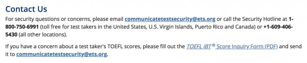 TOEFL Test Security Contact Us